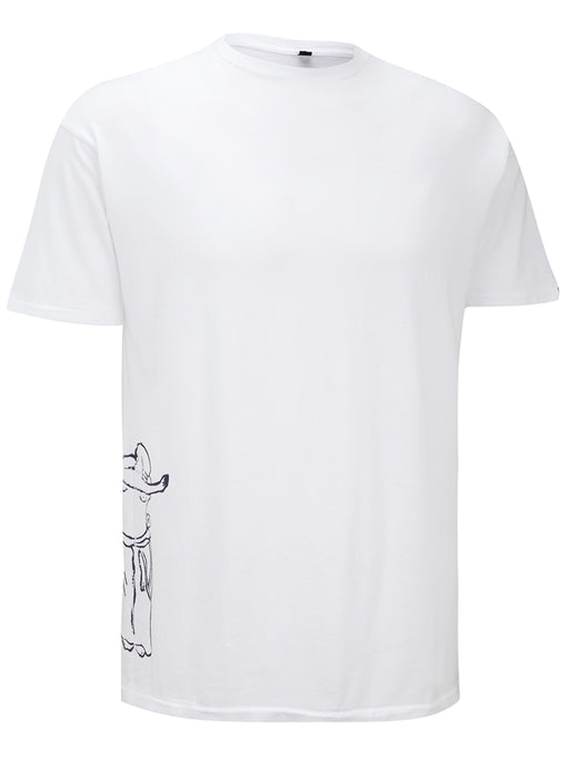 Mens Short Sleeve Round Neck Tee with standing Monk