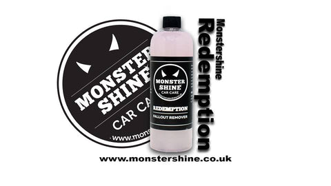 Monstershine Car Care Redemption Fallout Remover is an extremely effective, fast acting fallout remover for dissolving brake dust and iron contaminants