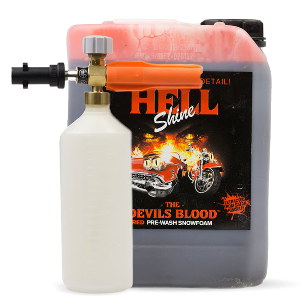 Monstershine Pro HD Snow Foam Lance and Autobrite Devils Blood 5 Litres - Red Snow Foam - Monstershine Car  Care