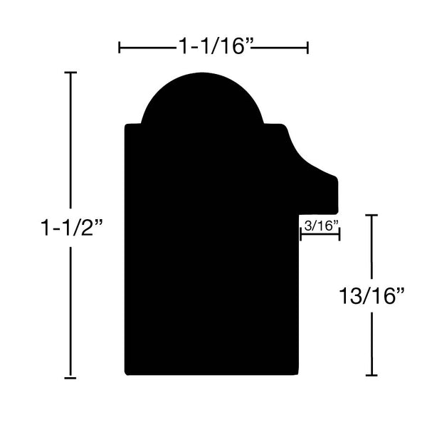 "Side View of Backband Molding, product number BB-116-102-1-MA - 1-1/16"" x 1-1/2"" Maple Backband - $2.32/ft sold by American Wood Moldings"