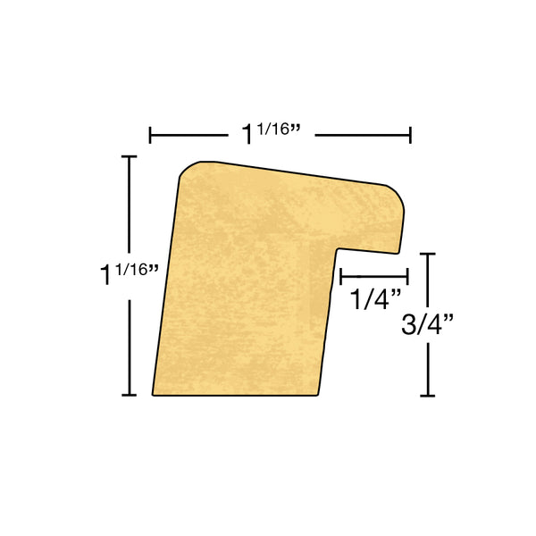 "Side View of Backband Molding, product number BB-102-102-1-PO - 1-1/16"" x 1-1/16"" Poplar Backband - $1.04/ft sold by American Wood Moldings"