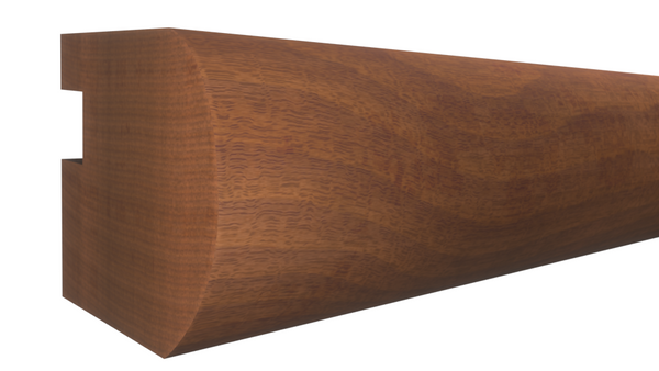 "Profile View of Bullnose Molding, product number BN-108-102-1-HMH - 1-1/16"" x 1-1/4"" Honduras Mahogany Bullnose - $4.80/ft sold by American Wood Moldings"