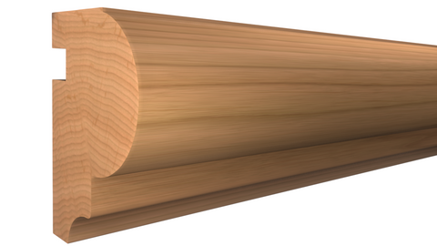 "Profile View of Bullnose Molding, product number BN-126-108-1-CH - 1-1/4"" x 1-13/16"" Cherry Bullnose - $6.24/ft sold by American Wood Moldings"