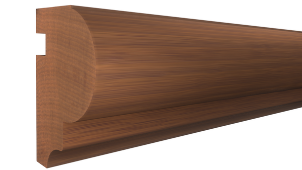 "Profile View of Bullnose Molding, product number BN-126-108-1-HMH - 1-1/4"" x 1-13/16"" Honduras Mahogany Bullnose - $8.72/ft sold by American Wood Moldings"
