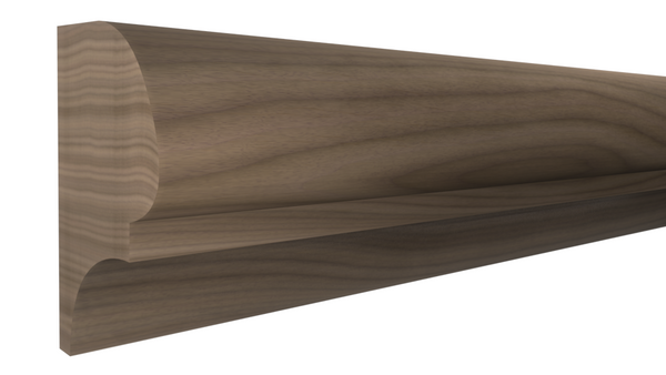 "Profile View of Bullnose Molding, product number BN-200-112-1-WA - 1-3/8"" x 2"" Walnut Bullnose - $10.60/ft sold by American Wood Moldings"