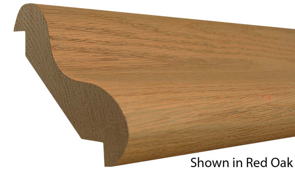 "Profile view of bar rail molding, product number BR610 1-11/16""x6-3/16"" Red Oak $14.64/ft. sold by American Wood Moldings"