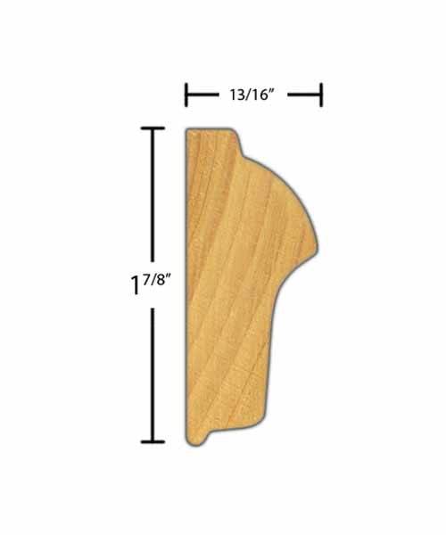 "Side View of Chair Rail Molding, product number CH-128-026-1-BE - 13/16"" x 1-7/8"" Beech Chair Rail - $1.36/ft sold by American Wood Moldings"