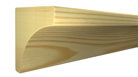 "Profile View of Cove Molding, product number CO-016-016-1-CP - 1/2"" x 1/2"" Clear Pine Cove - $0.40/ft sold by American Wood Moldings"