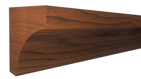 "Profile View of Cove Molding, product number CO-024-024-1-BCH - 3/4"" x 3/4"" Brazilian Cherry Cove - $1.80/ft sold by American Wood Moldings"