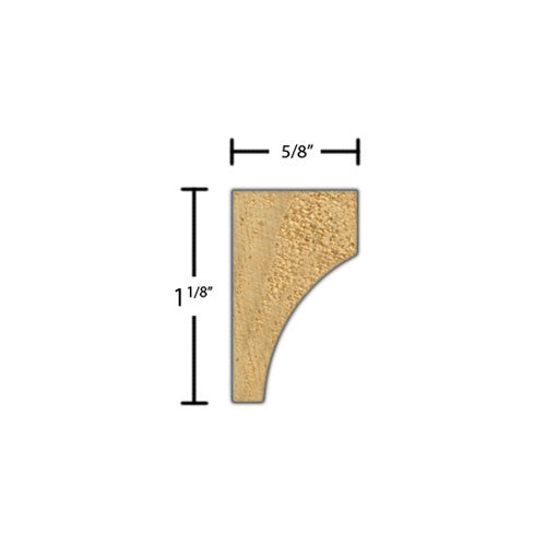 "Side View of Cove Molding, product number CO-104-020-1-CP - 5/8"" x 1-1/8"" Clear Pine Cove - $0.96/ft sold by American Wood Moldings"
