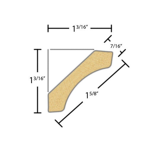 "Side view of cove molding, product number CO160 7/16""x1-5/8"" Primed Finger Joint $0.88/ft. sold by American Wood Moldings"