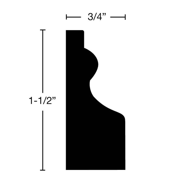 "Side View of Door Stop Molding, product number DS-116-024-2-MA - 3/4"" x 1-1/2"" Maple Door Stop - $2.76/ft sold by American Wood Moldings"