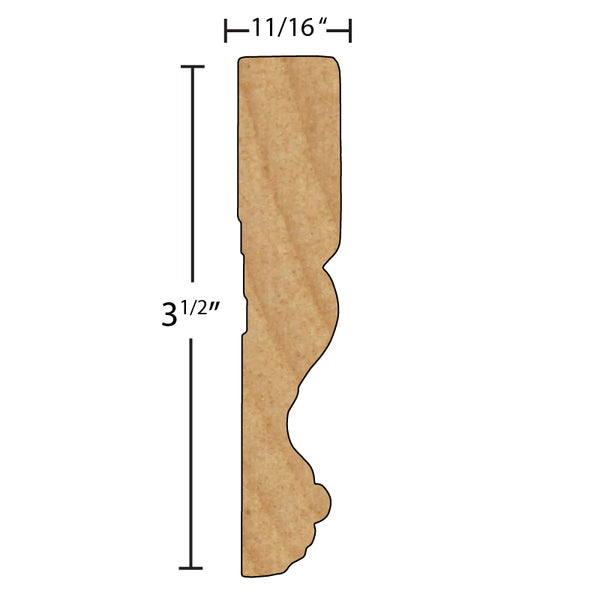 "Side View of Flexible Casing Molding, product number CA-316-022-1-FL - 11/16"" x 3-1/2"" Smooth Urethane Flexible Casing - $13.69/ft sold by American Wood Moldings"