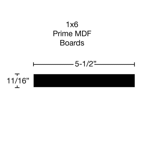 Standard Size 1x6 Primed MDF Boards - $1.32/ft