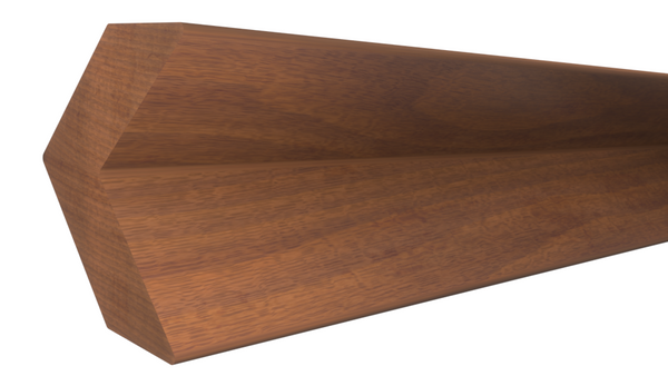 "Profile View of Outside Corner Molding, product number OC-024-024-3-HMH - 3/4"" x 3/4"" Honduras Mahogany Outside Corner - $4.98/ft sold by American Wood Moldings"
