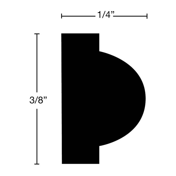 "Side View of Panel Molding Molding, product number PA-012-008-1-MA - 1/4"" x 3/8"" Maple Panel Molding - $0.76/ft sold by American Wood Moldings"
