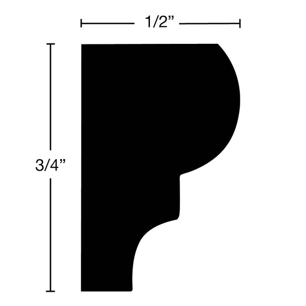 "Side View of Panel Molding Molding, product number PA-024-016-1-CH - 1/2"" x 3/4"" Cherry Panel Molding - $1.52/ft sold by American Wood Moldings"
