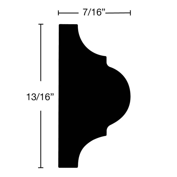 "Side View of Panel Molding Molding, product number PA-026-014-1-HMH - 7/16"" x 13/16"" Honduras Mahogany Panel Molding - $1.88/ft sold by American Wood Moldings"