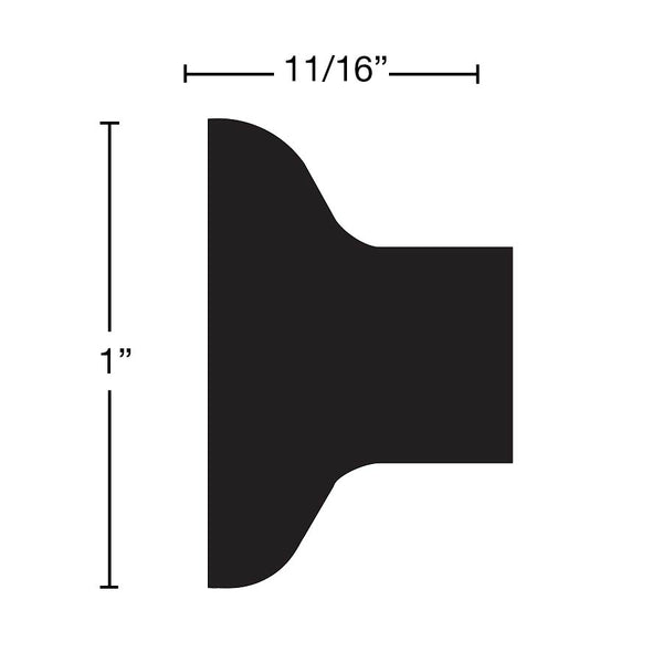 "Side View of Panel Molding Molding, product number PA-100-022-1-HMH - 11/16"" x 1"" Honduras Mahogany Panel Molding - $2.72/ft sold by American Wood Moldings"