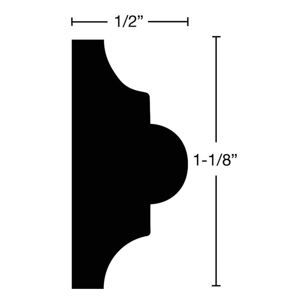 "Side View of Panel Molding Molding, product number PA-104-016-1-WA - 1/2"" x 1-1/8"" Walnut Panel Molding - $2.16/ft sold by American Wood Moldings"