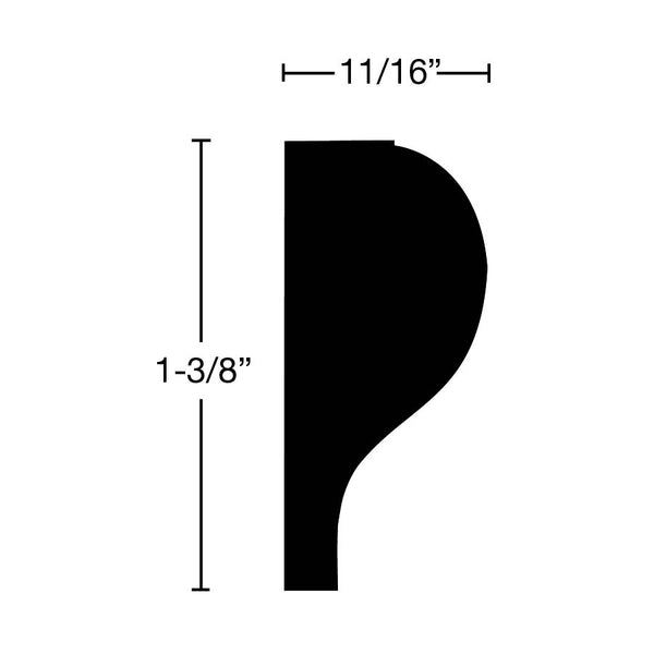 "Side View of Panel Molding Molding, product number PA-112-022-2-CH - 11/16"" x 1-3/8"" Cherry Panel Molding - $2.60/ft sold by American Wood Moldings"