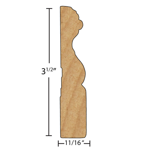 "Side View of Casing Molding, product number CA-316-022-1-PM - 11/16"" x 3-1/2"" Primed MDF Casing - $0.83/ft sold by American Wood Moldings"