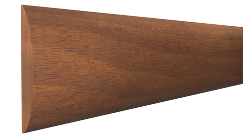 "Profile View of Half Round Molding, product number RO-020-004-1-HMH - 1/8"" x 5/8"" Honduras Mahogany Half Round - $1.44/ft sold by American Wood Moldings"
