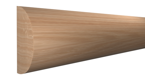 "Profile View of Half Round Molding, product number RO-024-012-1-RO - 3/8"" x 3/4"" Red Oak Half Round - $1.12/ft sold by American Wood Moldings"