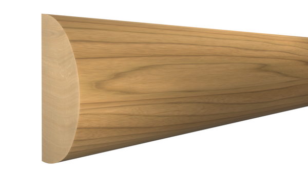 "Profile View of Half Round Molding, product number RO-024-012-1-MA - 3/8"" x 3/4"" Maple Half Round - $1.44/ft sold by American Wood Moldings"