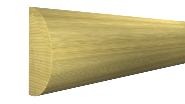 "Profile View of Half Round Molding, product number RO-100-016-1-PO - 1/2"" x 1"" Poplar Half Round - $1.08/ft sold by American Wood Moldings"