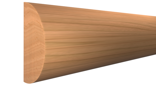 "Profile View of Half Round Molding, product number RO-116-024-1-CH - 3/4"" x 1-1/2"" Cherry Half Round - $3.68/ft sold by American Wood Moldings"
