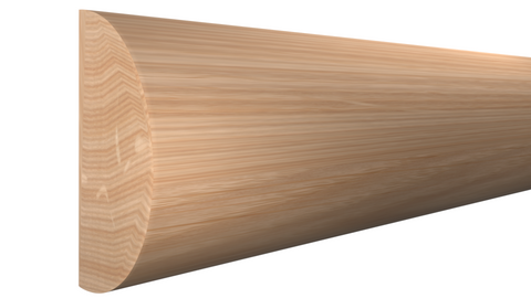 "Profile View of Half Round Molding, product number RO-116-024-1-RO - 3/4"" x 1-1/2"" Red Oak Half Round - $1.96/ft sold by American Wood Moldings"
