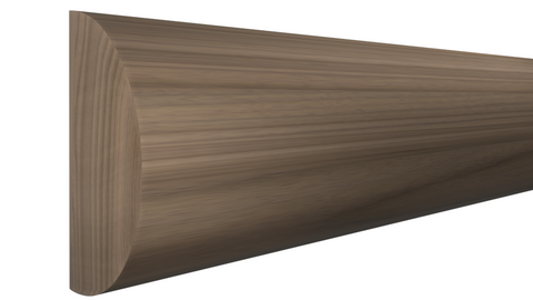 "Profile View of Half Round Molding, product number RO-116-024-1-WA - 3/4"" x 1-1/2"" Walnut Half Round - $5.17/ft sold by American Wood Moldings"