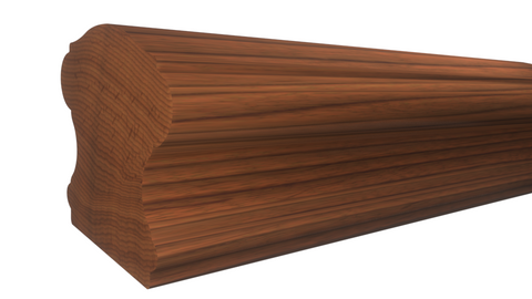 "Profile View of Stair Handrail Molding, product number SHR-224-220-1-BCH - 2-5/8"" x 2-3/4"" Brazilian Cherry Stair Handrail - $13.92/ft sold by American Wood Moldings"