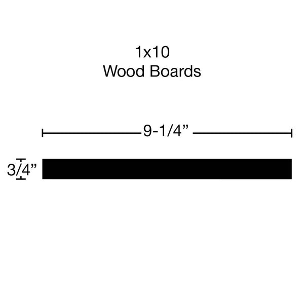 Side View of Standard Size 1x10 Knotty Pine Boards - $1.76/ft sold by American Wood Moldings