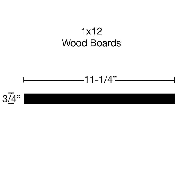 Side View of Standard Size 1x12 Cherry Boards - $13.80/ft sold by American Wood Moldings