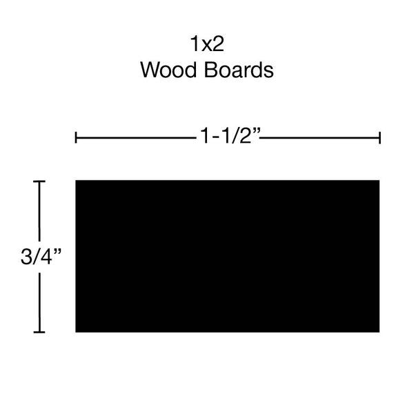 Side View of Standard Size 1x2 Teak Boards - $12.60/ft sold by American Wood Moldings