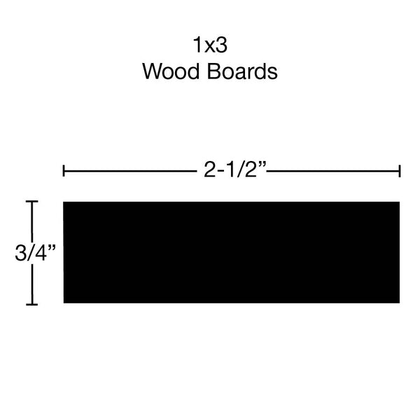 Side View of Standard Size 1x3 Soft Maple Boards - $2.68/ft sold by American Wood Moldings