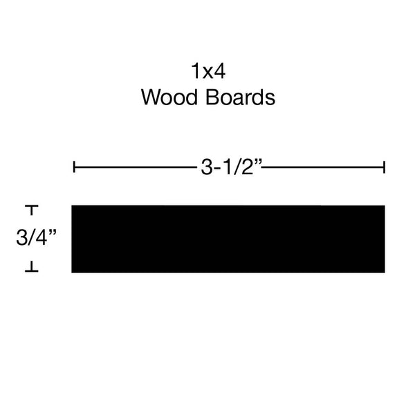 Side View of Standard Size 1x4 Knotty Alder Boards - $3.04/ft sold by American Wood Moldings