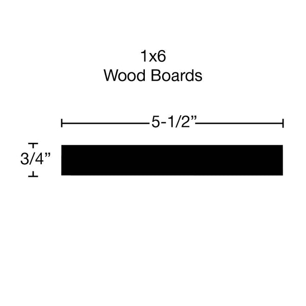 Side View of Standard Size 1x6 Hard Maple Boards - $5.72/ft sold by American Wood Moldings