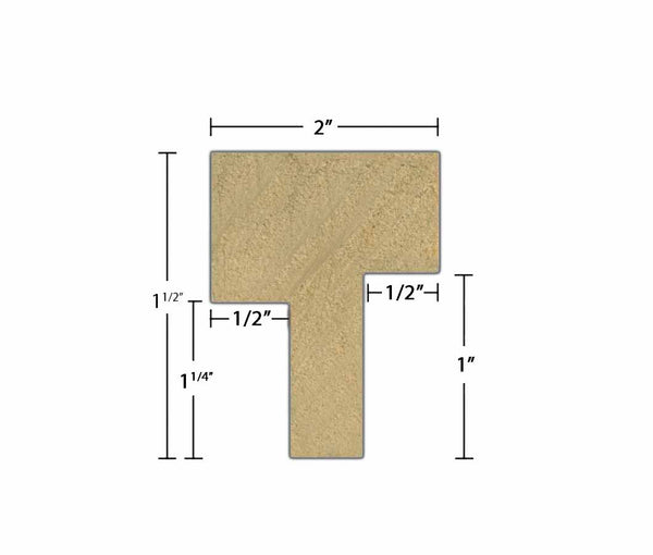 "Side view of Interior Astragal Molding, product number AS110 Interior Astragal 1-1/2""x2"" Poplar $2.48/ft. sold by American Wood Moldings"