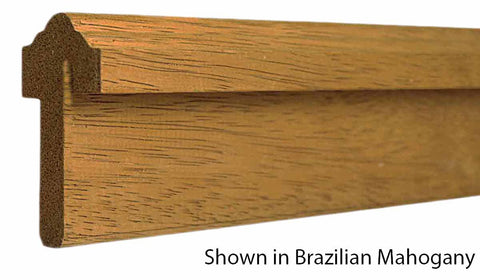 "Profile View of Exterior Astragal Molding, product number AS-302-114-1-BMH - 1-7/16"" x 3-1/16"" Brazilian Mahogany Exterior Astragal - $12.48/ft sold by American Wood Moldings"