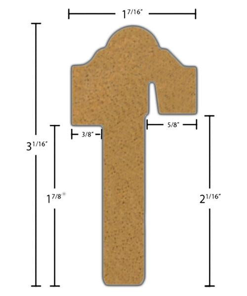 "Side View of Exterior Astragal Molding, product number AS-302-114-1-BMH - 1-7/16"" x 3-1/16"" Brazilian Mahogany Exterior Astragal - $12.48/ft sold by American Wood Moldings"