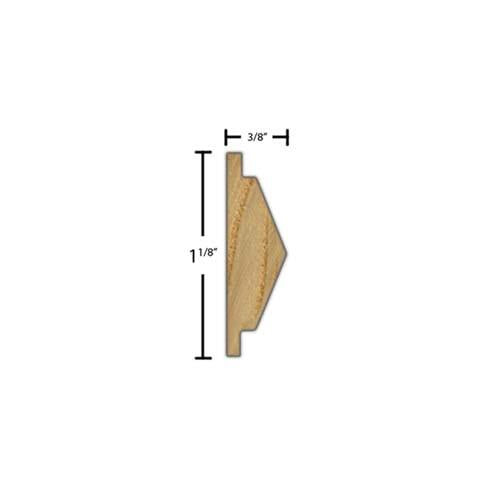 "Side View of Decorative Carved Molding, product number DC-104-012-2-AS - 3/8"" x 1-1/8"" Ash Decorative Carved Molding - $4.96/ft sold by American Wood Moldings"