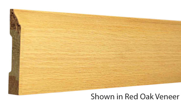 "Profile view of base molding, product number BA350 1/2""x3-1/4"" Red Oak Veneer $1.32/ft. sold by American Wood Moldings"