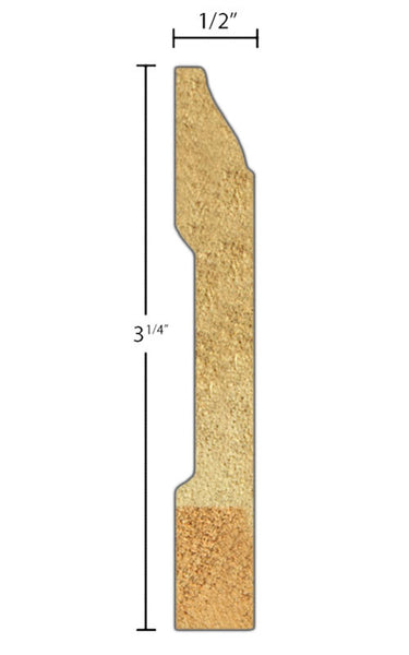 "Side View of Base Molding, product number BA-308-016-3-ROV - 1/2"" x 3-1/4"" Red Oak Veneer Base - $1.32/ft sold by American Wood Moldings"