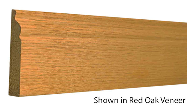 "Profile view of base molding, product number BA355 9/16""x3-1/4"" Red Oak Veneer $1.48/ft. sold by American Wood Moldings"