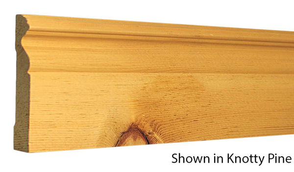 "Profile view of base molding, product number BA510 11/16""x5"" Knotty Pine $1.72/ft. sold by American Wood Moldings"