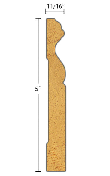 "Side view of base molding, product number BA510 11/16""x5"" Knotty Pine $1.72/ft. sold by American Wood Moldings"