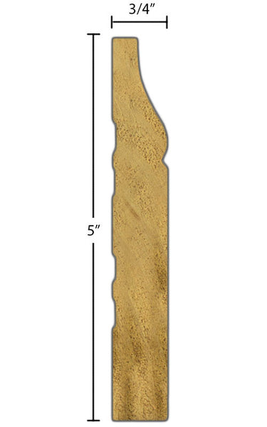 "Side View of Base Molding, product number BA-500-024-1-PO - 3/4"" x 5"" Poplar Base - $2.04/ft sold by American Wood Moldings"